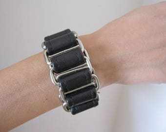 Bracelet, cuff, black leather and silver, women or men