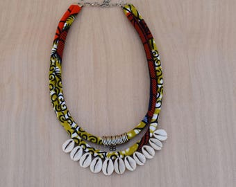 Collier boho, ankara print necklace, boho necklace, african fabric necklace, collier ethnique, bijoux tribal ethnique