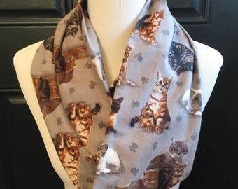 Cat Scarf, Gray Cat Infinity Scarf, Cat Lover, Kitten Scarf