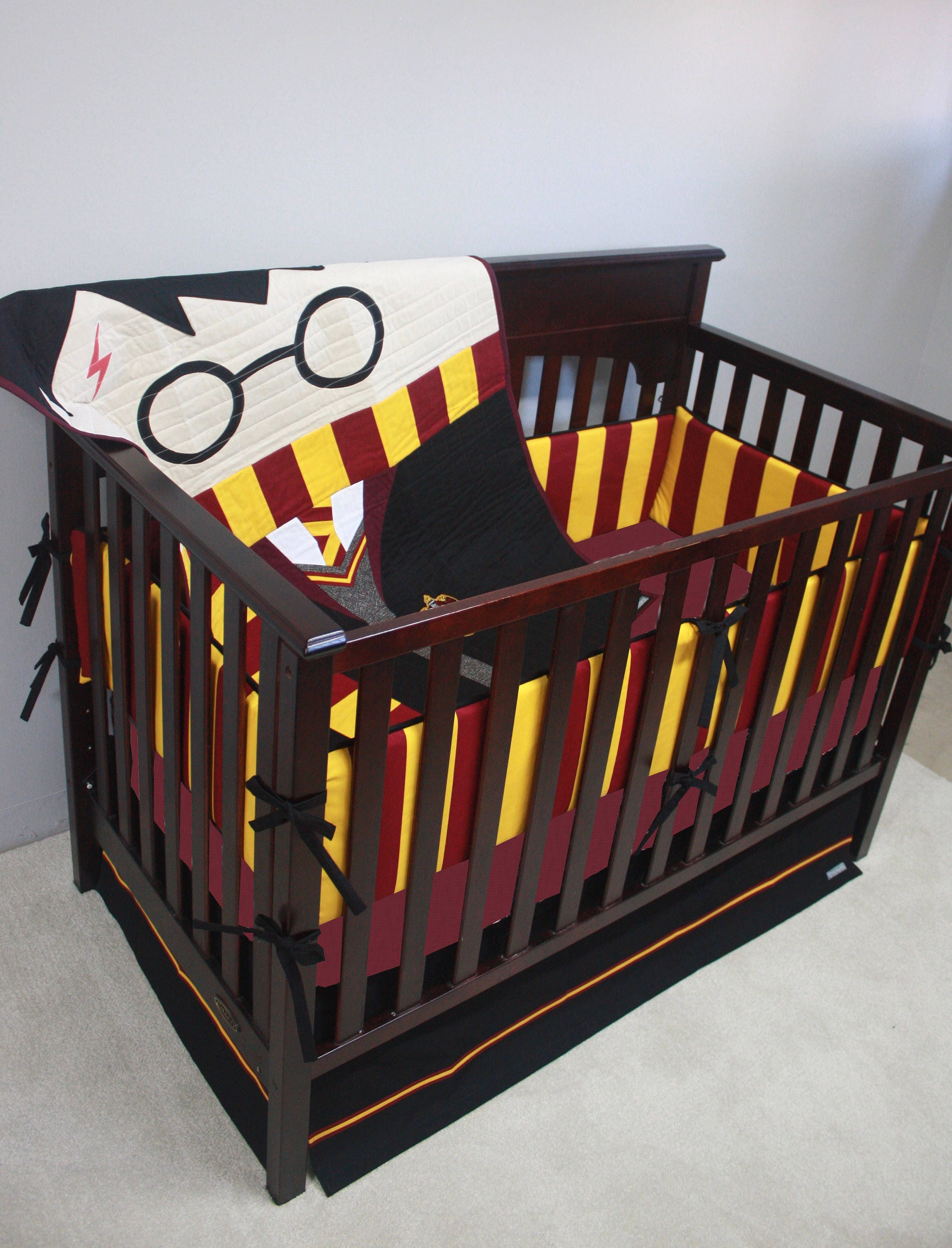 Wizard boy baby bedding custom crib bedding mto - Harry potter crib set ...