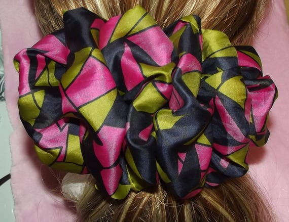 Becky Bows ~OOAK ROSETTE Barrette Hand crafted giant huge Scarf BIG hair bow Women or Girls navy gray pink