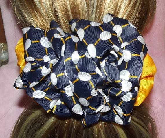 Becky Bows ~OOAK ROSETTE Barrette Hand crafted giant huge Scarf BIG hair bow Women or Girls navy white yellow dots