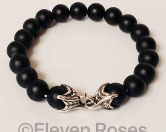 David Yurman 10mm Black Onyx Spiritual Bead Bracelet DY 925 Sterling Silver Free US Shipping