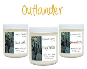 Soy Candles * Outlander Set * Book Candles * Literary Gifts * Handmade * 4oz Scented All White