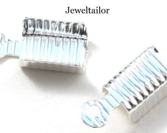 10-100 Silver Plated Ribbed Fold Over End Crimp Beads 13mm x 5mm ~ Jewellery Making Essentials