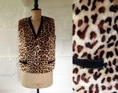 1950s60s Granada Leopard Print Sheepskin Rockabilly Top  50s60s Waistcoat  Vintage Leopard Print Top  SIZE UK 12