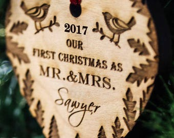 Personalized Christmas Ornament, Our First Christmas Ornaments Personalized, Newlywed Ornament, Just Married Ornament - SKU#303