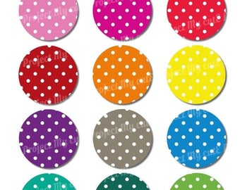 50% OFF Cupcake toppers Rainbow Polka dots - Instant Download - Flag pennant