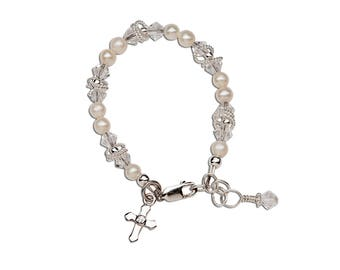 Sterling Silver Baptism Bracelet with Freshwater Pearls and Cross Charm for First Communion Gift for Girls (Krista)