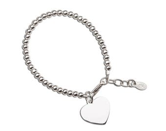 Sterling Silver Bracelet with Engravable heart for Girls  Comes in Gift Box (TC-Savannah)