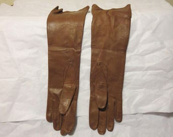 Vintage 1950s brown leather gloves long French kid size 7 1/2 made in France blue silk lining (62417)