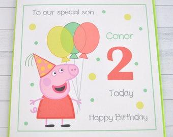 Handmade Personalised. Customised. Peppa Pig Birthday Card Son Daughter Granddaughter Grandson Friend