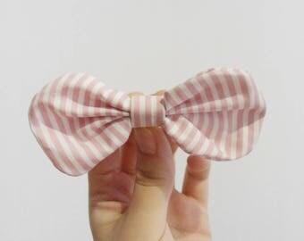 Stripes hair bow clip, Pink bow barrette, Fabric hair bow tie