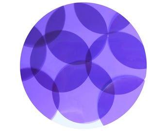 Round Vinyl Shape No Hole 40mm Purple Go Go Transparent