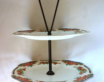 Signed English China Alfred Meakin 5 inch two-tiered serving tray no handle 9 inches with.