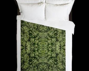 Leaf Duvet Cover, Bohemian Duvet Cover Rhino Bolt  Flower Cannabis Print,Duvet Cover Floral, Leaf Bedding,Hippy Decor, Duvet Cover Queen