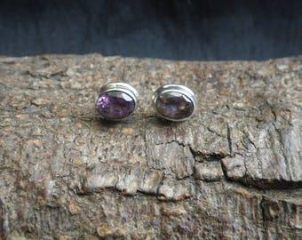 Sterling Silver Glass Amethyst Coloured Stud Earrings