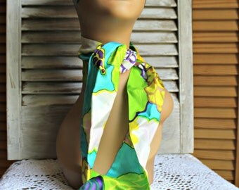 Vintage. Neck/Scarf. Headband. Green/yellow/blue. Fun scarf. Long scarf. Groovy! 1960s/1970s.