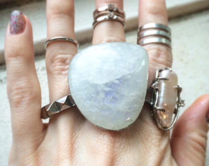Huge Moonstone Stainless Steel Ring, Size 8