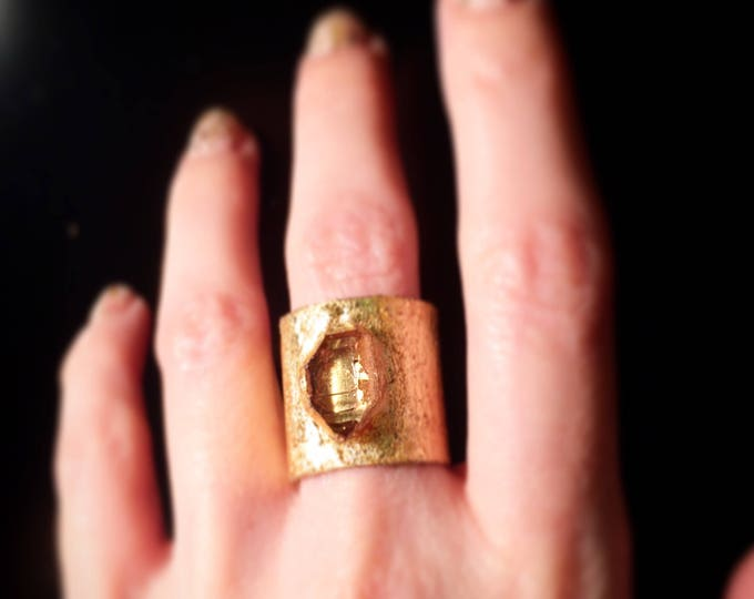 Herkimer Diamond Gold Leaf Cuff Ring, Size 7.25