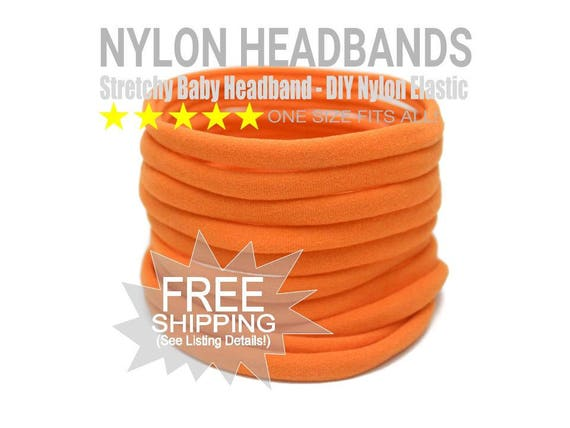 ORANGE HALLOWEEN Nylon Headbands Wholesale / Wholesale Spandex Headband / Skinny Very Stretchy One Size Fits most Nylon