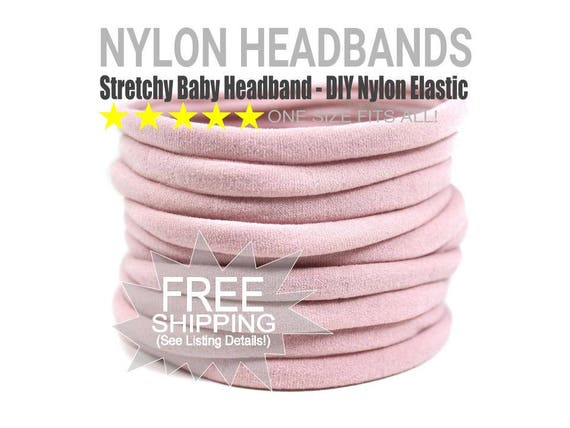 DUSTY ROSE Bulk Nylon Headbands / WHOLESALE Nylon Baby Headband / Wholesale Spandex Headband / Skinny Very Stretchy One Size Fits most Nylon
