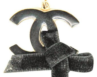 Chanel #12387 CC Enamel velvet bow gold necklace
