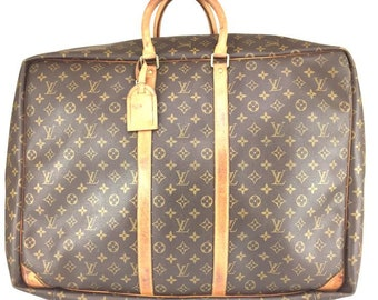 Louis Vuitton #17173 Sirius 55 Large Luggage Suitcase Monogram Canvas and Vachetta Leather Weekend/Travel Bag