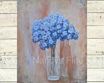 Blue hydrangea wall art, Blue flower painting, modern flower art, Original hydrangea artwork by Nancy Quiaoit at NancyQart