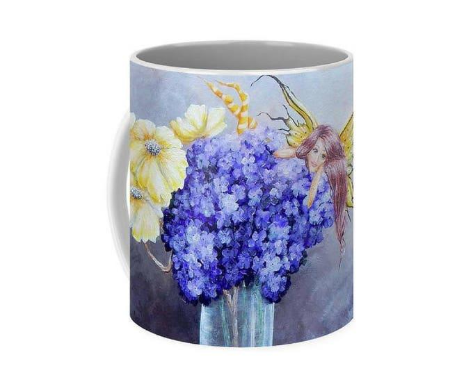 Fairy art mug, purple fairy coffee mug,  flower unique fairy cup, original painting by Nancy Quiaoit