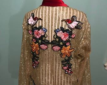 Glitter bomber jacket with patches