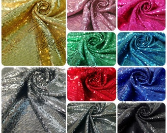 3mm Mini Micro Shiny Sequins on Stretch FDY Knit Jersey Polyester Spandex Fabric - 50 to 52 Inches Wide - By the Yard or Bulk