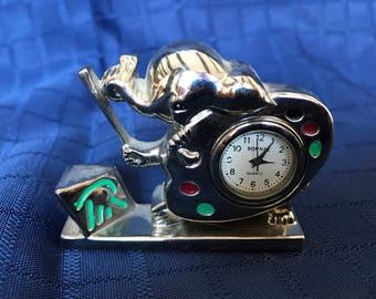 Miniature artist Elephant clock