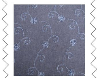 Navy linen 130 cm x 140 cm embroidered fabric