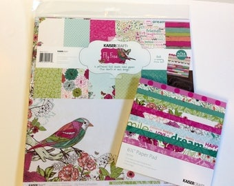 """KaiserCraft """"Fly Free"""" 12"""" x 12"""" Paper Kit, 6.5"""" x 6.5"""" pad and extra papers"""