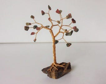 Handmade Gemstone tree. Unakite & Tiger's eye wire tree sculpture. Green pink and brown