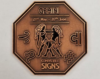GEMINI Zodiac Astrological Coin Antique Copper Finish