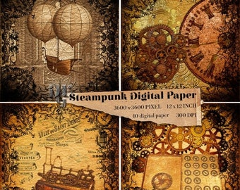 40% Steampunk Digital Paper Victorian 10 digital papers Old Vintage Steampunk Digital Paper Pack Old Digital  Steampunk Texture background