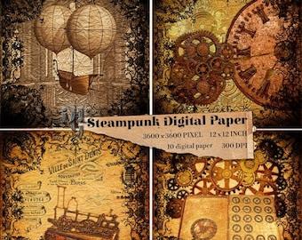40% Steampunk Digital Paper Victorian 10 digital papers Old Vintage Steampunk Digital Paper Pack Old Digital  Steampunk Texture background