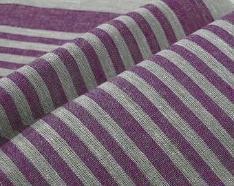 Lilac Purple  Narrow strips Reversible Decorator 100% Linen fabric Upholstery Ecru Grey French Heavy Weight ECO-friendly - custom yardage