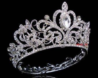 SILVER-Wedding Bridal Princess Tiara -Luxury Tiara Crystal Headpiece Rhinestone-NEW!
