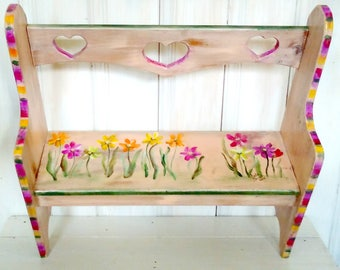 Hand Painted Kid's Bench, Whimsical Furniture Art, READY to Ship, Small Bench, Girl Toddler/Baby Size, Rows of Flowers/Daisies/Hearts