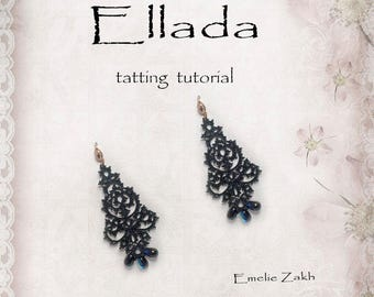 "Black lace earrings frivolite tutorial Holiday tatting earrings for evening PDF Tatting Pattern ""Ellada Earrings"" Instant Download"