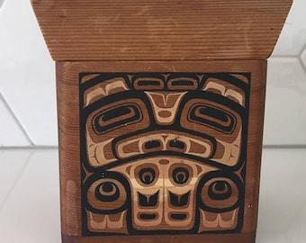 Vintage Haida Northwest Coast Bentwood Box Designed by WK Joseph