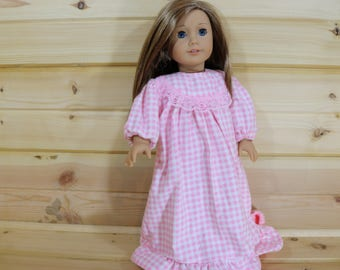 Pink and White Flannel Nightgown