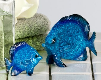Blue fish ceramic statue for collection or decoration, length 1,5 inches