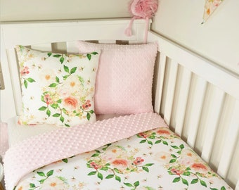 Soft pinks and peaches floral cot quilt and accessories- Nursery set items, fitted sheet, cushions, bunting, change table cover