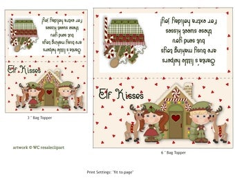 PRINT YOUR OWN Large and Small Elf Kisses Bag Toppers