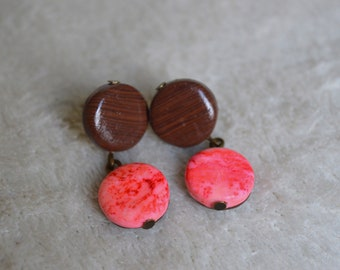 Stud Earrings / studs / earrings polymer clay / fimo - wood effect and marbling pink orange neon