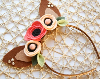 Fawn Ears, Woodland Headband, Floral Fawn Ears, Deer Ears, Fawn Headband, Woodland Deer, Felt Flower Headband